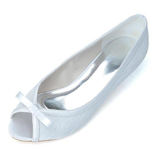 L@YC Zapatos De Boda Para Mujer # 0700-08 Peep Toe Seda CóModa De TacóN Bajo Y OcupacióN / Fiesta De Noche White