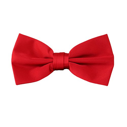 Luther Pike Mens Pre Tied Bowtie Tuxedo Bow Tie (Red)