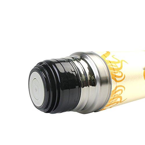 Jstel pieuvre en acier inoxydable Gourde thermos anti-fuites double Bouteille Vide pour café chaud ou froid à thé + Boisson Tasse Top 500ml
