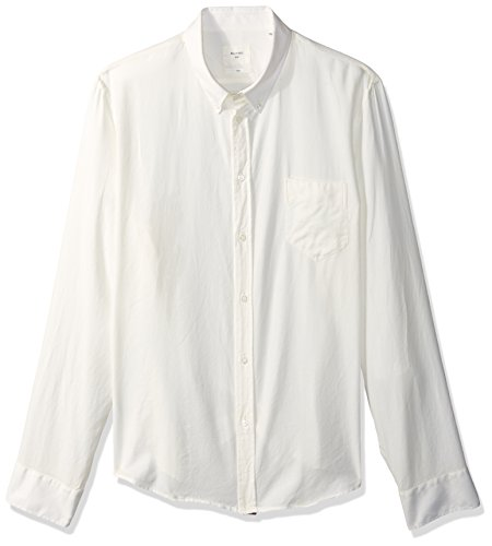 Billy Reid Men's Standard Fit Cotton Cashmere Button Down Liam Shirt, White M ()