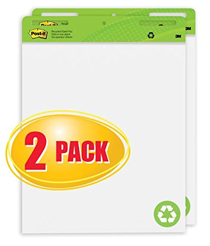 Post-it Super Sticky Easel Pads, 25'' x 30'', 30% Recycled, White, Pack of 2 Pads