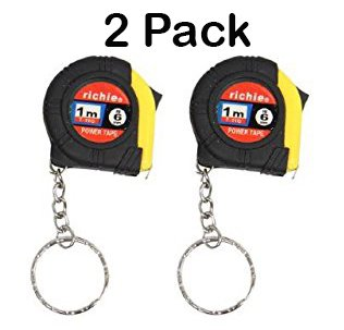 6 Feet Long Keychain Tape Measure- 2 Pack - Thumb Power Lock Measuring Tape - High Carbon Steel Blade and Shock Absorbent Case - For Professional and Amateur Workers - Katzco