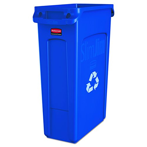 Rubbermaid Commercial Slim Jim Recycling Container with Venting Channels, Plastic, 23 Gallons, Blue (354007BE) (Rubbermaid Containers Waste)