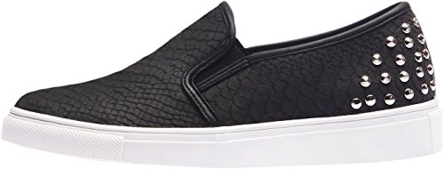 SNRD-116 Fashion Snakeskin Pattern Rivet Slip-Ons Shoes Black Women 8 (Snake Skin Pattern)