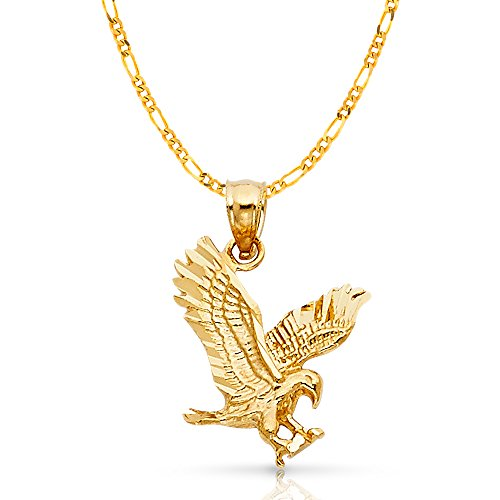 14K Yellow Gold Eagle Charm Pendant with 2.3mm Figaro 3+1 Chain Necklace - 22