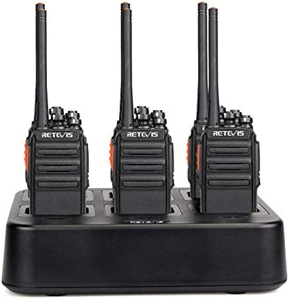 Case of 6,Retevis H-777S Walkie Talkies Long Range,with Six Way Multi Gang Charger, Two Way Radios Rechargeable for Jobsite,Restruant,Church, Commercial