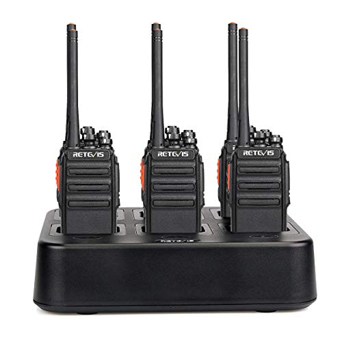 Retevis H-777S Walkie Talkies Rechargeable Long Range UHF FRS VOX Encryption Security Two Way Radios(6 Pack) with Six Way Gang Charger Multi Charger