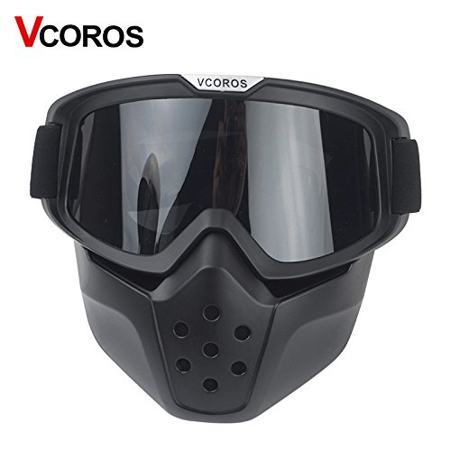 VCOROS Modular Mask with Goggle & Mouth Filter for 3/4 Open Face Motorcycle Helmets (Black Frame/Dk Smoke Lens Gen II) by VCOROS