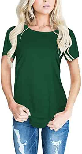 CEASIKERY Women's Blouse 3/4 Sleeve Floral Print T-Shirt Comfy Casual Tops for Women (Short Sleeve Dark Green, (US 8-10) Medium)