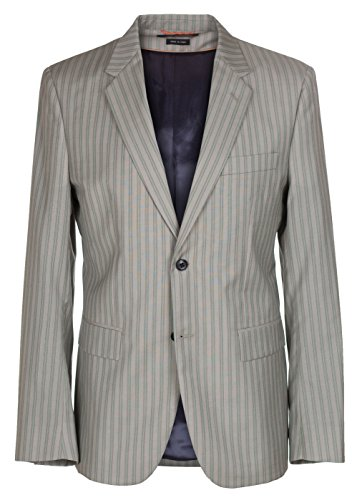 Marc Jacobs Men's Pinstripe 100% Wool Two Button Jacket Sport Coat Blazer, Gray, 38