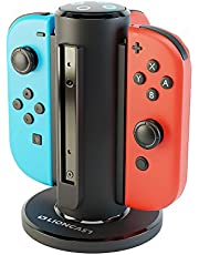 Lioncast Joy-Con Quad-Charger for Nintendo Switch, Controller Charging Station with USB-C Port and LED Charge Display - Black