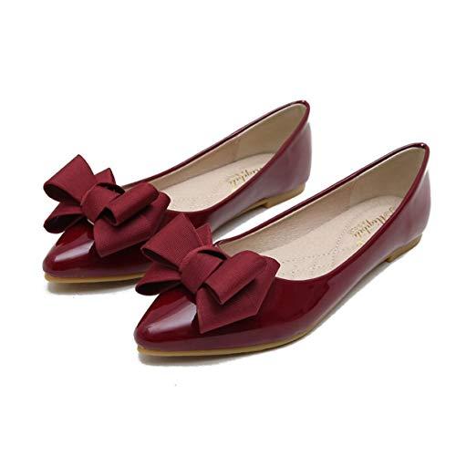 Rouge Douces Femmes Flats Dames Noeud Vin Mocassins Élégantes Pointu Chaussures Bout 4vBqn4d