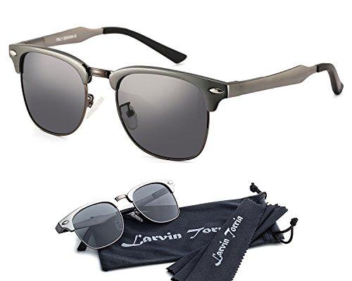 Larvin Torria Clubmaster Polarized Wayfarer Sunglasses Horn Rimmed Half - Brazil Sunglasses