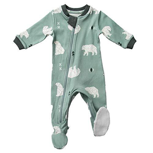 - ZippyJamz Organic Baby Footed PJs w/Inseam Zipper - Be Beary Quiet (3-6 Mos)