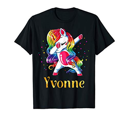 Yvonne Name Personalized Custom Unicorn Dabbing T-Shirt
