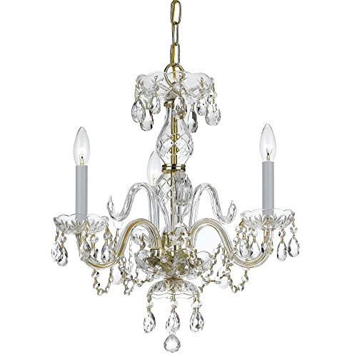 Crystorama 5044-PB-CL-MWP Crystal Three Light Mini Chandelier from Traditional Crystal collection in Brass-Polished/Castfinish,