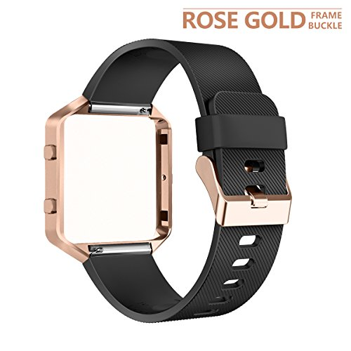 AIUNIT Fitbit Blaze Band with Frame, Fitbit Blaze Replacement Small Bands Accessories Wristband Watch Sport Strap for Fitbit Blaze Smart Fitness Tracker Women Men Boys(Black Band & Gold Rose Frame)