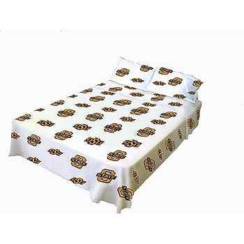Oklahoma State Printed Sheet Set in White Size: Queen - State Printed Sheet Set
