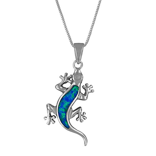 Sterling Silver Synthetic Blue Opal Lizard Pendant Necklace, 18