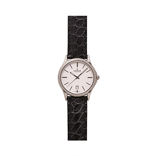 Charmex Madison Ave 2715 40mm Stainless Steel Case Black Calfskin Synthetic Sapphire Men's Watch