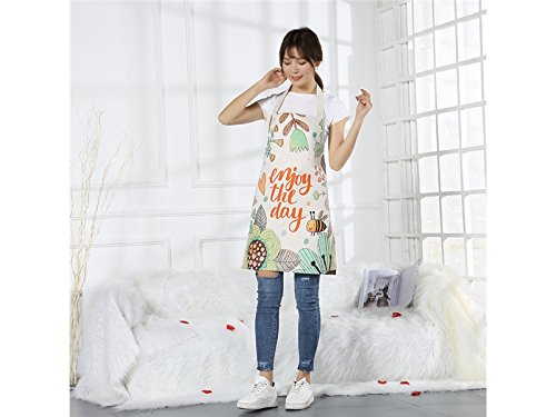 Gelaiken Perfect Cartoon Animal Bee Flower Printed Floral Apron Waterproof Oil-Proof Sleeveless Apron