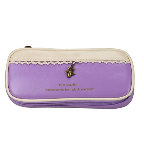 Oksale Portable Leather Pencil Pen Case Stationery Zipper Pouch Pocket Cosmetic Makeup Bag (Purple) (Makeup In The 80s)
