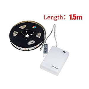 teqin 150cm 5050 waterproof ip65 rgb led super cree strip lights with battery box. Black Bedroom Furniture Sets. Home Design Ideas