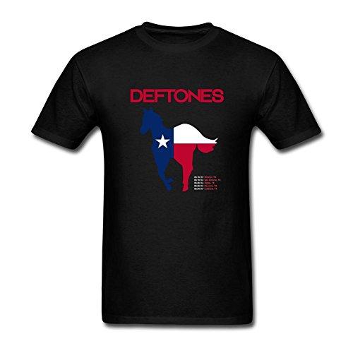 OMMIIY Men's Deftones Texas Tour Pony T shirts Black XXXL