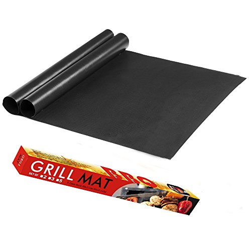 - Grill Mat - Set of 2 Heavy Duty BBQ Grill Mats Heat Resistant,PFOA Free FDA Approved Reusable and Easy to Clean for Gas Charcoal Electric Smoker Barbecue Grills or as Baking Oven Liner