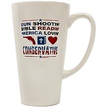 TooLoud Gun Shootin' Conservative 16 Ounce Conical Latte Coffee Mug