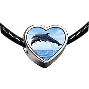 Chicforest Silver Plated Two Cute Jump Dolphin Photo Heart Charm Beads Fits Pandora Charm Bracelet