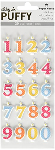Paper House Productions Puffy Stickers, Numbered Candles, 3-Pack 3 Piece ()