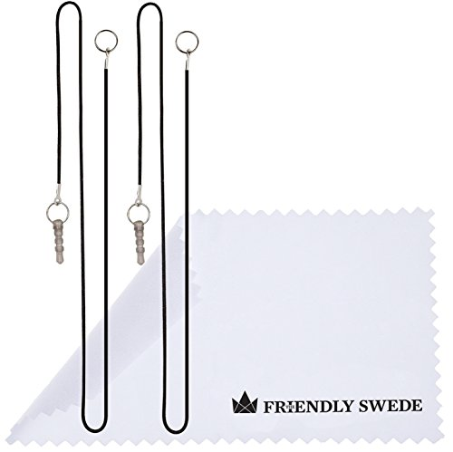 """The Friendly Swede Bundle of 3PCS Premium Branded 5.5"""" Thin-Tip High Precision Universal Capacitive Stylus Pens + Extra 3 Replaceable Tips and 2 X 15"""" Detachable Elastic Lanyards (Black)"""