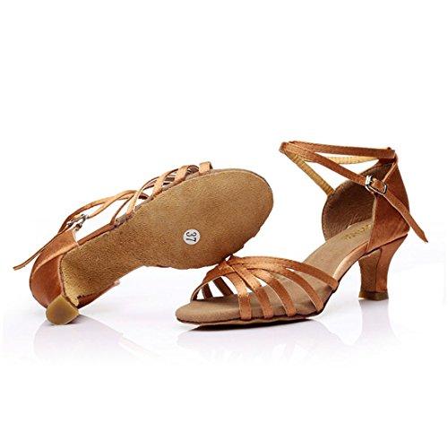 Tanzschuhe Tanz Latein mit 5cm 7cm Latein Tanzschuhe Ballsaal Absatz Schuhe Damen Absatz 5 Mädchen Braun DorkasDE a0nUw1Iq0