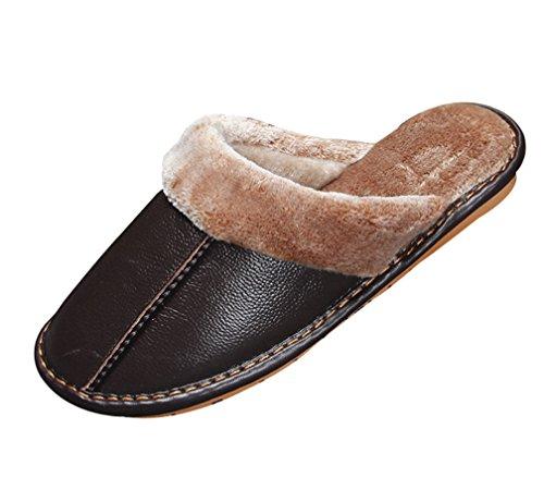 Cattior Heren Warme Indoor Outdoor Slippers Lederen Slippers Diep Bruin
