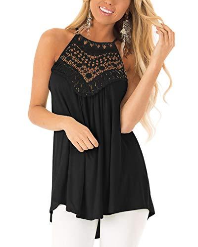 (Cnifo Womens Sleeveless Halter Tunic Blouse Summer Floral Crochet Swing Flowy Shirts Top Black XXL )