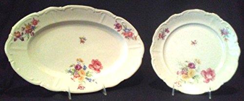 Bavarian China Dishes - Vintage Floral Platter with Matching Dinner Plate, 13 in x 10-1/2 in Vintage Serving Platter, Bareuther German Bavarian