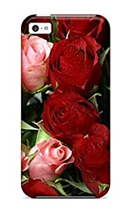 Iphone 5c Hard Back With Bumper Silicone Gel Tpu Case Cover Pink & Red Roses Bouquet