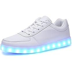 Believed 11 Colors LED Light Up Shoes Flashing Sneakers for Christmas Women Men(White 45/14 B(M) US Women / 10.5 D(M) US Men)