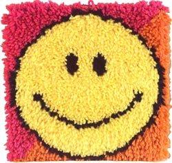 Bulk Buy: Caron Wonderart (2-Pack) Latch Hook Kit 12in. x 12in. Smiley Face 426187C