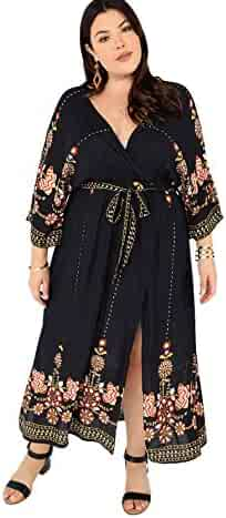 12a7ad0e1e4 Milumia Plus Size Flounce 3 4 Sleeves Floral Print Embroidery Wrap V Neck  Waist Belted