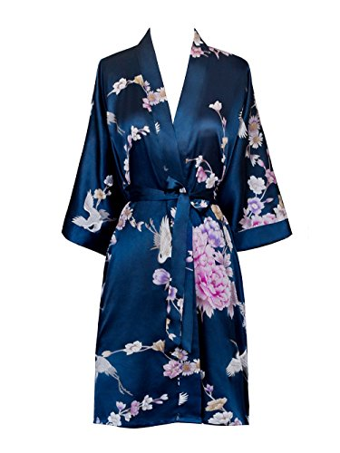 Old Shanghai Women's Kimono Short Robe - Chrysanthemum & Crane - - Shorts Blue Old Navy