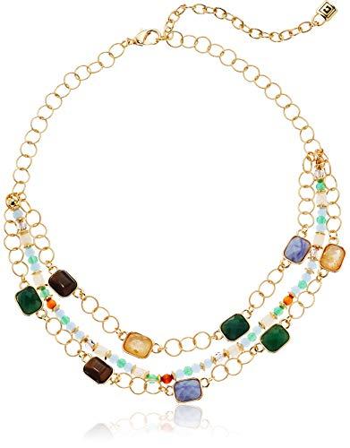 - Chaps Women's Gold/Multi Multirow Necklace , Adjustable