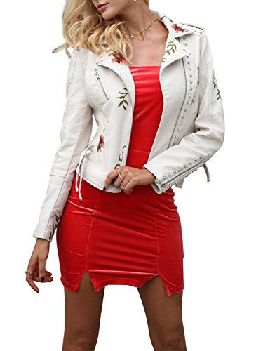 g Sleeves Faux Leather Zipper Jacket Coat Embroidery Floral PU Leather Outwear White (Ladies Leather Zipper Jacket)