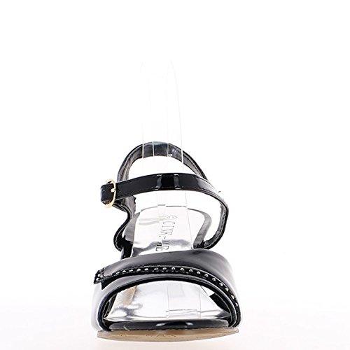 Larges Avec 5 Vernies Sandales 7 Cm Talon De Noires qO500t