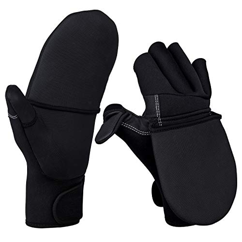 Goture Fingerless Gloves with Cover, Anti-Slip Half Finger Winter Flip-Over Mitten Fishing Gloves for Kayaking Fishing Hunting Riding Cycling (Black, Size:XL)