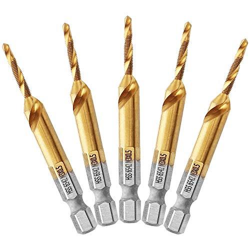 50pcs//Set Metric Thread Titanium Coated HSS Drill and Tap Bits Shank