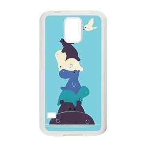 Cubierta protectora Funda Samsung Galaxy S5 teléfono cubierta de la caja Funda Blanca Birdie K5W0RY Plástico