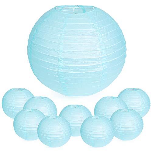 WYZworks Round Paper Lanterns 10 Pack (Light Blue, 8