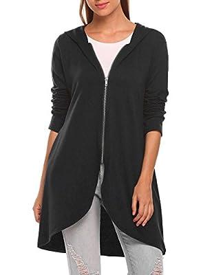Beyove Women's Casual Light Oversized Zip Hoodie Sweatshirt Jacket